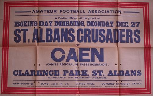 Affiche du match amical joué en Angleterre le lendemain du boxing day 1909.