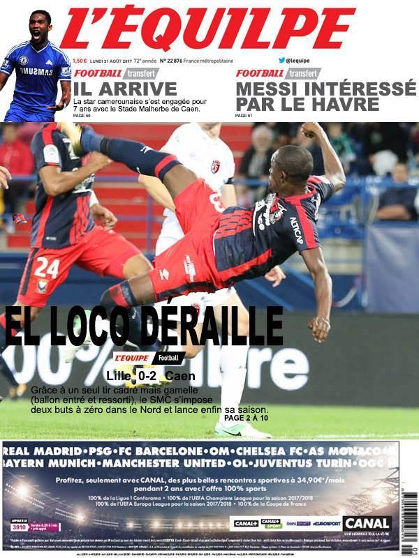 La Une après Lille-Caen
