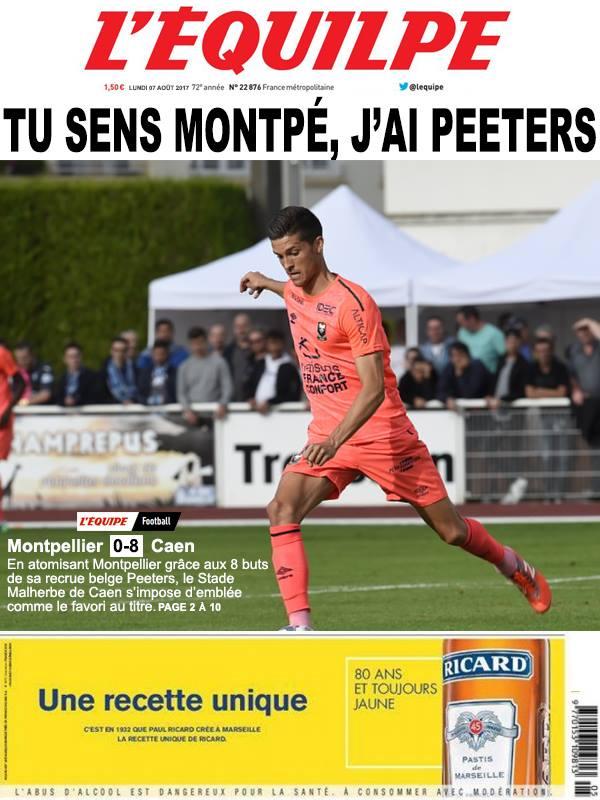 La Une après Montpellier-Caen