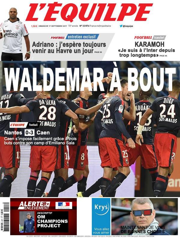 La Une après Nantes-Caen