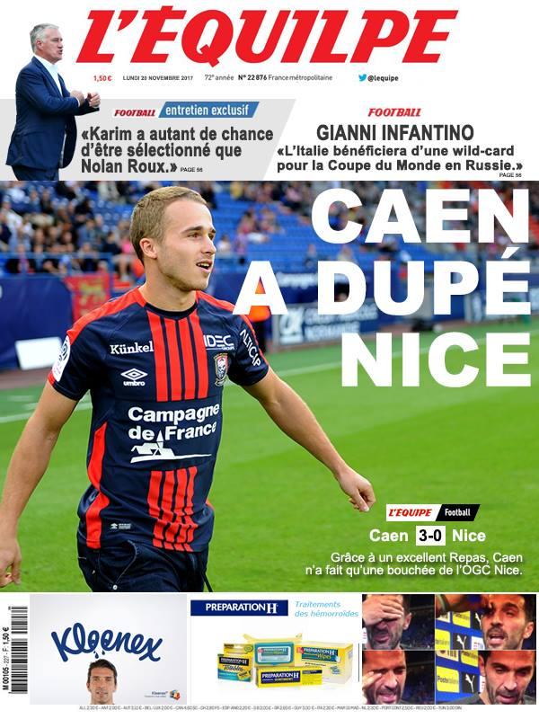 La Une après Caen-Nice