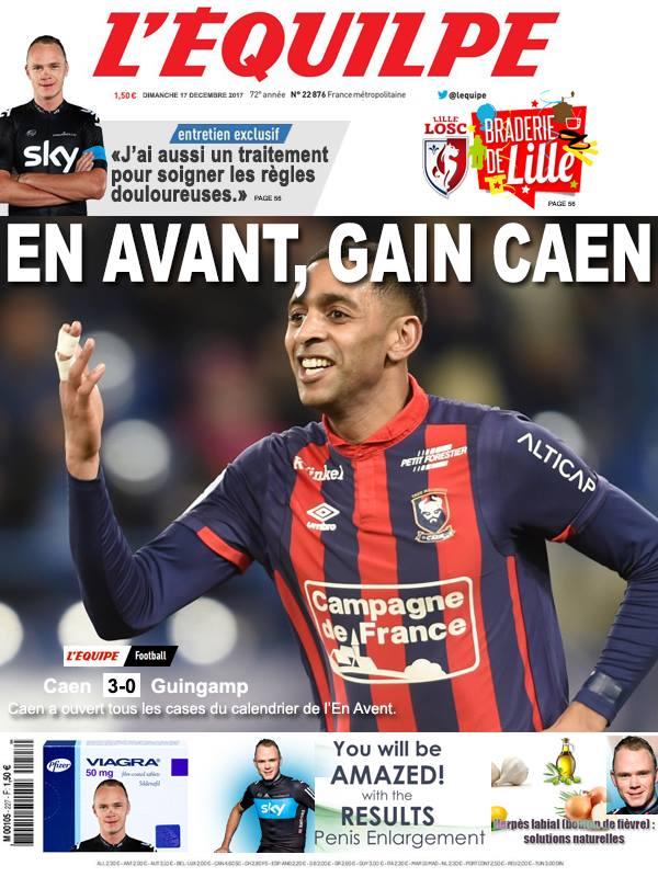 La Une après Caen-Guingamp