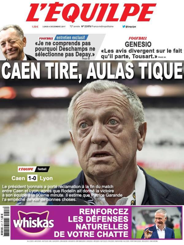La Une après Caen-Lyon