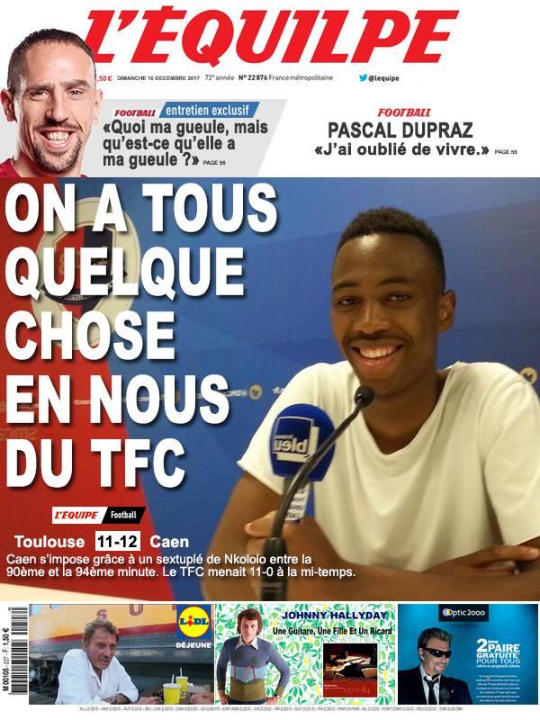La Une après Toulouse-Caen