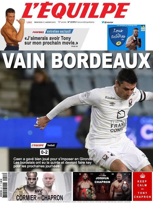 La Une après Bordeaux-Caen