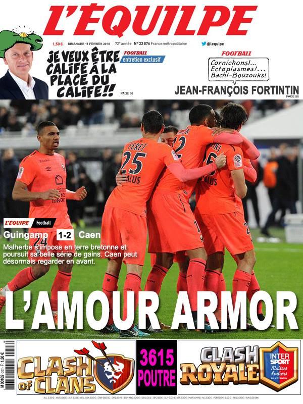 La Une après Guingamp-Caen