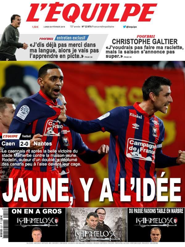 La Une après Caen-Nantes