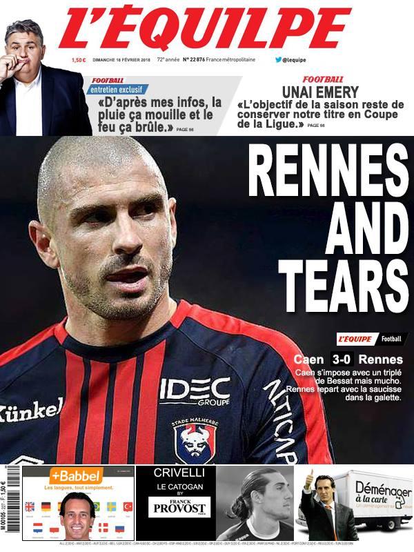 La Une après Caen-Rennes