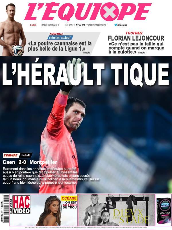 la Une après Caen-Montpellier