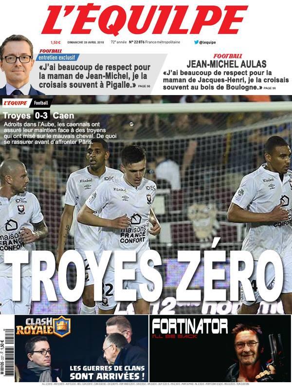 La Une après Troyes-Caen