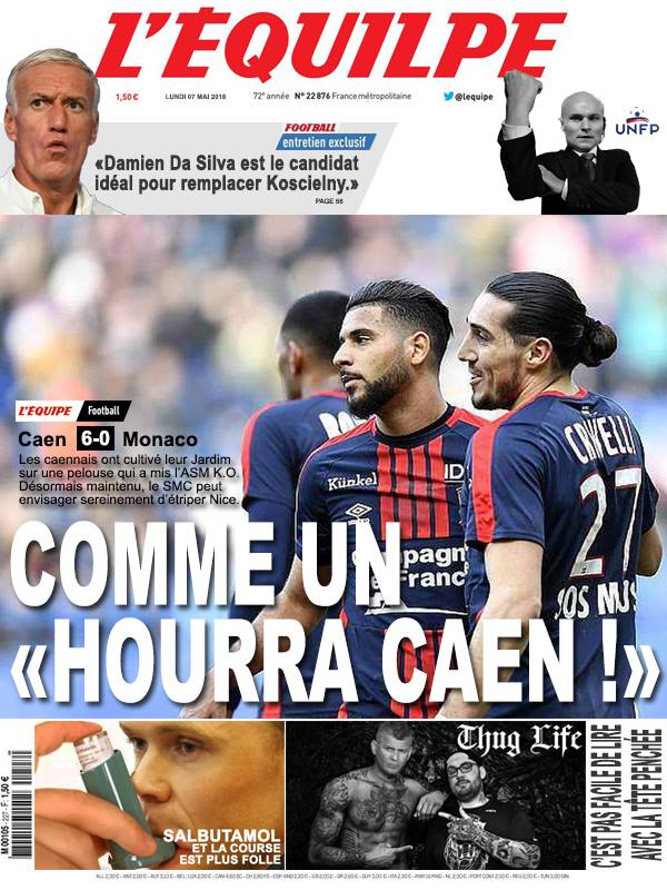 La Une après Caen-Monaco