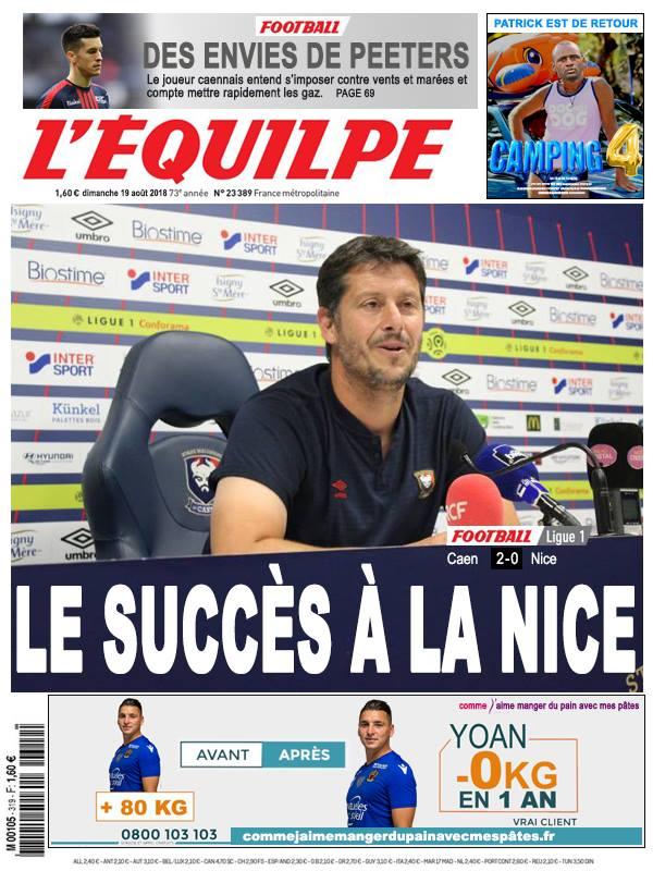 La Une après Caen - Nice
