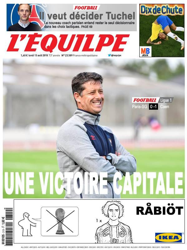 La Une après PSG - Caen