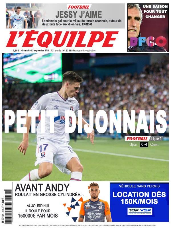 La Une après Dijon - Caen