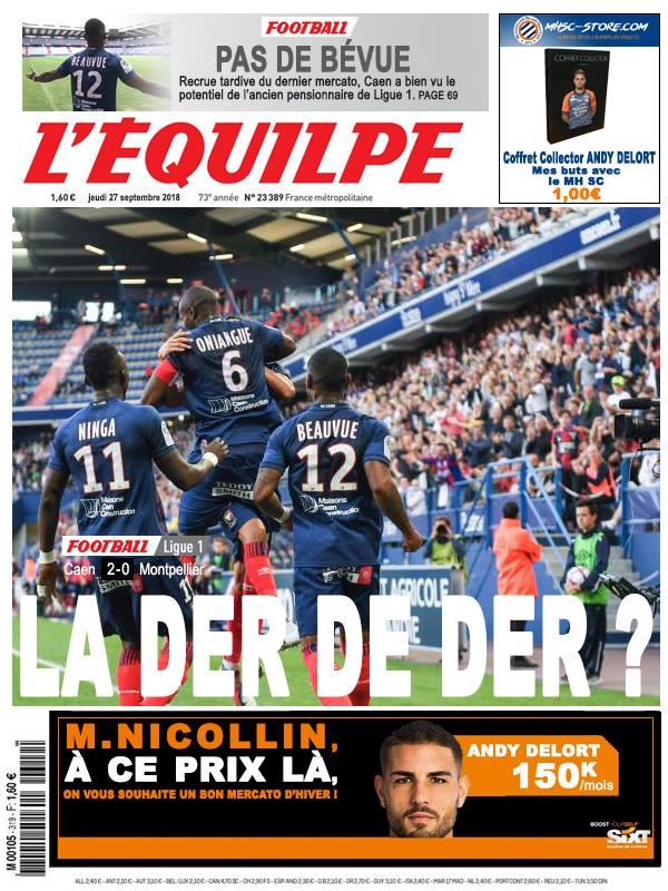 La Une après Caen - Montpellier