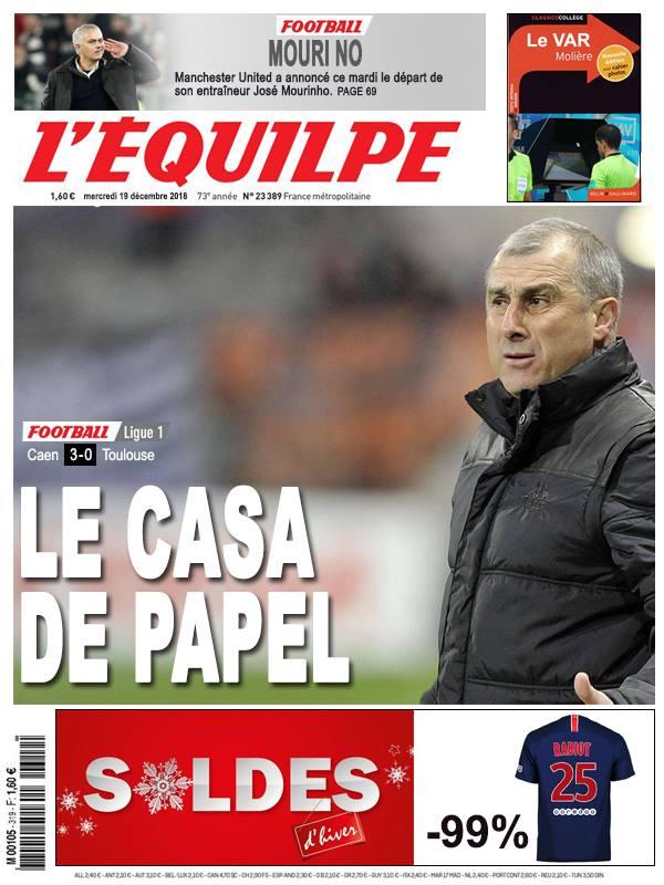 La Une après Caen - Toulouse