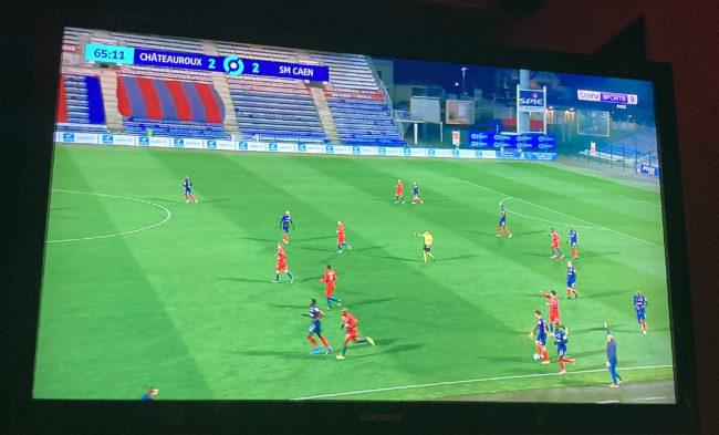 Action lors du match Châteauroux - Caen